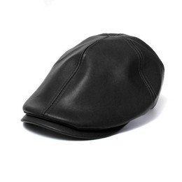 Wholesale peaked cap leather - Wholesale-New Mens and Women Vintage Leather Beret Cap Peaked Hat Newsboy Sunscreen Casquette Femme Se5