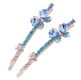 Wholesale Wedding Bangs - Luxury crystal Rhinestone double butterfly Hairpins Hair Clip barrettes for girl bang hair accessory Christmas gift