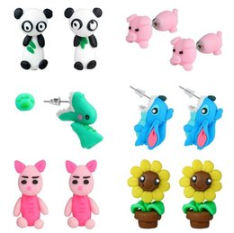 Wholesale Earring 3d - 3D Handmade Polymer Clay Lovely Rabbit Stud Elephant Tiger Earring For Women Girl Animal Earrings Jewelry ER762