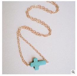 Wholesale Tassel Bracelet Cross - Wholesale- l285 Vintage gold bracelet single chain tassel blue turquoise cross Charm Bracelet jewelry for women wholesale party