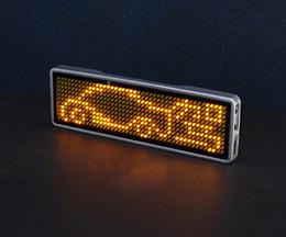 Tarjetas de visita amarillas online-Micro USB Sign Scrolling tarjeta de presentación publicitaria etiqueta de pantalla digital LED placa de identificación Recargable + Programable, AMARILLO
