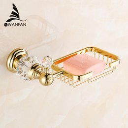 Wholesale Soap Dishes Ceramic - Euro style Crystal & Brass Gold Bathroom Accessories Soap Dishes   Soap Holder Soap Case home decoration Free Shipping HK-30