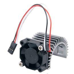 Wholesale rc brushless motors - 2PCS RC HSP Gray Alum 540 Motor Heat Sink & DC 7.2V Brushless Fan For 3650 Motor