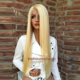 Wholesale 613 Lightest Blonde - 613 Human Hair Wig Lightest Blonde Full Lace Wig Pre Plucked Hairline With baby hair bleached knots Fast Shipping