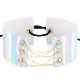 Wholesale Wholesale Leather Lace For Jewelry - Holographic chokers necklaces for women goth lace up choker Wide Chocker necklace maxi collar Corset Lase Rainbow PU Leather neck jewelry