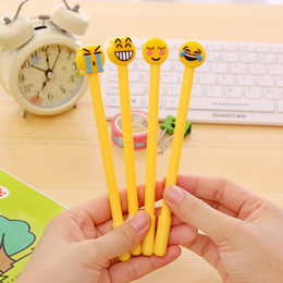 Wholesale F Gel - Black Neutral Pen Cartoon Expression Creative Emoji Signature Gel Pens All Needle Tube Stationery Four Style Optional 0 72ds F R