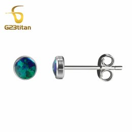 Wholesale 4mm Green Jade - Charming Green Opal Earring 4mm Natural Opals Anti allergic G23 Titanium Stud Small Earrings Jewelry 2017