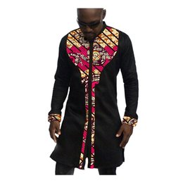Wholesale African Clothing Men - Wholesale- African mens shirts custom men african clothes fashion dashiki shirt mens long sleeve tops of africa clothing