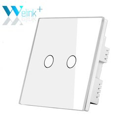 Wholesale Touch Sensitive Wall Switch - Wholesale-Only UK Standard Touch Switch 2Gang White Glass Panel LED Wall Switches Touch Sensitive Button for Home Lamps