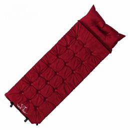 Wholesale Foam Sleeping Pads Camping - Wholesale- Outdoor Single Automatically Suede Moisture Pad Fill Foam Air Mattresses Inflatable Mattress Sleeping Pads With Pillow Camping