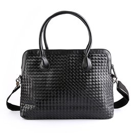 Wholesale Man Hand Bag Brand - Wholesale- New Arrival Hand Woven Man Briefcase Famous Brand Leather Travel Bag High Quality Fashion Designer Leisure Business Laptop Bags