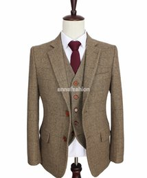 Wholesale Tailored Made Suits - 2016 tailor made slim fit suits for men retro Brown Herringbone Tweed wedding dress custom mens 3 piece suit Blazers