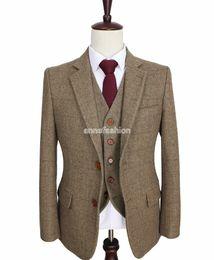 Wholesale Man Slim Dress Pants - 2016 tailor made slim fit suits for men retro Brown Herringbone Tweed wedding dress custom mens 3 piece suit Blazers