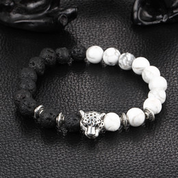 Wholesale Men Jewelry Bulk - Unique Silver Leopard Spacer Beads Black Lava And White Grey Beaded Man Jewelry Bracelet In Bulk