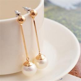 Wholesale Pearl Earings Wedding - Stud Earrings Dropping Fashion 18K Gold Plated Charm Pearl Beads Stud Earrings Women's Jewelry Gift Pearl Earings Long Eardrop Ear Pendant