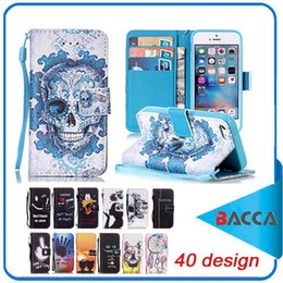 Wholesale Iphone Silicone Flip Case - Wallet Design For Apple iPhone 6 Case Leather Cover iPhone 6plus 7 7plus Flip Skull have a nice day design