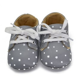 Wholesale Kids Wholesale Shoes China - Wholesale- China 0-18M Newborn Kids Baby Shoes Star Pattern Lace Up Soft Sole Sneaker Crib Shoes