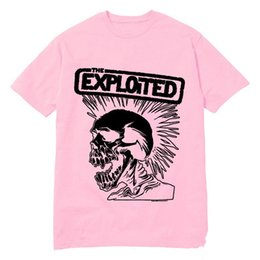 Wholesale Low Priced Men Tees - Hot New Fashion Men's T Shirts Punk Rock Band The Exploited Tee Round Top T-Shirt High Quality Low Price Swag Skull Camisetas