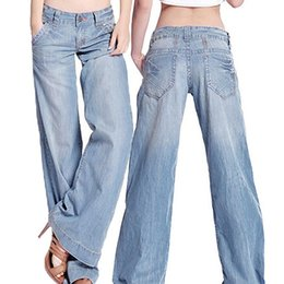 Wholesale wide flare jeans - Wholesale- Women's Fashion Slim Temperament Casual Vintage Wide-legged Jeans Flared Trousers