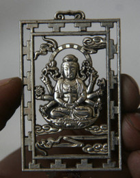 Wholesale Metal Hand Fans - Chinese Miao Silver 18 Hands Maha Cundi Mother Buddha Statue Pendant Amulet
