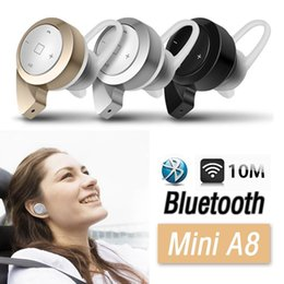 Wholesale Apple Product Mix - Newest product MINI A8 wireless bluetooth headphones stereo V4.0 in ear without mic headset with microphone