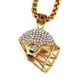 Wholesale Helmet Titanium - Europe and the United States new HIPHOP diamond rugby helmet necklace titanium steel pendant necklace