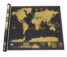 Wholesale Stickers For Walls Kids - Wholesale 82.5x59.5cm Black Scratch Map World Travel Scratch Off Map Best Gift for Education School mapa mundi mapa