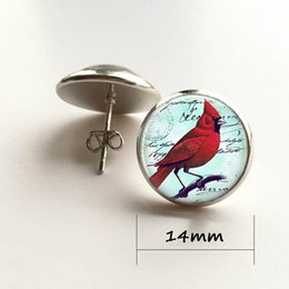 Wholesale Red Bird Christmas - Red Parrot Jewelry Parrot Stud Earrings Cardinal Red Bird Stud Earrings Christmas Gift Silver Plated Stud Earrings