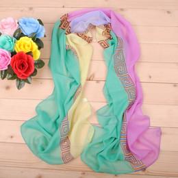 Wholesale cheap women scarfs - New arrival fashion geometric long girls chiffon scarf wholesale cheap female silk painting factory direct sale