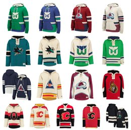 Wholesale Flame Numbers - Custom Hockey Hoodie Pullover Calgary Flames Hartford Whalers Colorado Avalanche San Jose Sharks Ottawa Senators Stitched Name Number