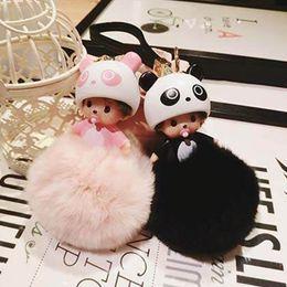 Wholesale Panda Pendant White Gold - Plush Key Chain Keychain Chaveiro Artificial Rabbit Ball Car Bag Pendant Women Cute Panda Kiki Dolls Sleutelhanger Pompom Llavero Breloki
