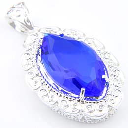 Wholesale Wholesale Swiss Blue Topaz - 10 Pieces Top Fashion Rushed Pendant Necklaces Women's Easter Gemstone Jewelry Pendant Colares 925 Silver Swiss Blue Topaz Pendants Jewelry