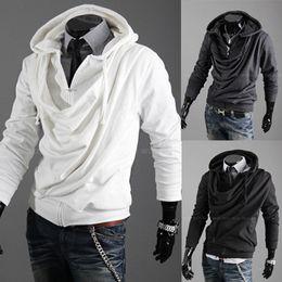 Wholesale Korean Fashion Cardigan Men - Fashion Korean Casual Men's Hoodie Hooded Heaps Collar Pure Color Cardigan Designer Slim Fit For Men Hoodies & Sweatshirts Free Shipping
