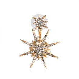 Wholesale gold snowflake stud earrings - Only 1 pcs Fashion Double Star Snowflake Stud Earrings Gold Rhinestone Crystal Hexagram Earring For Women Ear Jewelry Wholesale