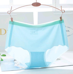 Wholesale Light Blue Lace Underwear - New Ladies Underwear Seamless Middle Waist Ice Silk Cool Light Thin Perspective Briefs Panties for Women Young Girls Pants L