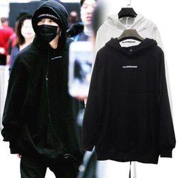 Wholesale Gd Hoodie - GD English Letter Embroidery Hooded Sweater Bigbang Loose Sweaters Hoodies Black and White Colors M L XL Sizes in stock Thin Style