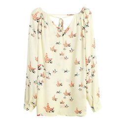 Wholesale Women S Silk Shirts Xl - Women Chiffon Top Blouse Short Long Sleeve Print Casual Loose Shirt for Summer