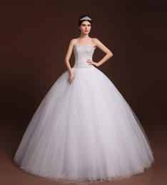 Wholesale Ball Gown 22 - Vestido De Noiva Princesa 2017 Stock US Size 4 to 22 White Ivory Tulle Crystal Beading Ball Gown Wedding Dress Robe de Mariage