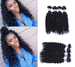 Wholesale Tangle Free Hair Weave - 7A Brazilian Deep Wave Virgin Hair Weave 4pcs lot Natural Color No Shedding Tangle Free Human Hair Extensions
