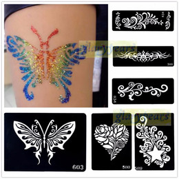 Wholesale Glitter Body Paint Stencils - Wholesale- 1pc Mehndi Henna Glitter Temporary Tattoo Stencil Paper Template Body Art Henna Art Paint Airbrush Paste Flower Star Heart Totem