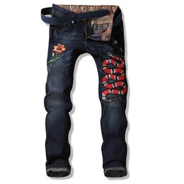 Wholesale Designer Male Brand Jeans - Mens Jeans Slim Fit Embroidered Snake Men Biker jeans Denim Denim Pants Male Brand Designer Flower Male Jeans Trousers
