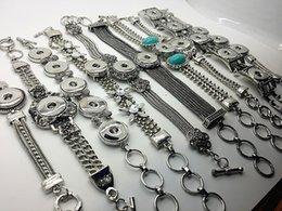 Wholesale Pcs Channels - Hot Wholesale New Mix 10 Pcs lot Antique Silver 18mm Ginger Snap Button NOOSA Chunk Charm Cuff Women & Girls Bracelets