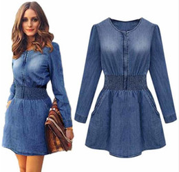 Wholesale Vintage Denim Work - New Vintage Spring Women Long Sleeved Slim Casual Denim Jeans Party Mini Dress vestidosPlus Size Amazing Casual Dresses