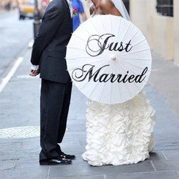 Wholesale Wedding Favor Parasols - Wedding umbrella craft Paper Parasol Favor Diameter 42cm Three Style Thank you Just married MR&MRS Party photo props