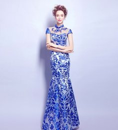 Wholesale Cheongsam Train - New Arrival Hot Sale Fashion Elegant Stage Performance Royal Blue Porcelain Sexy Annual Cheongsam Porcelain Toast Bridal Evening Dress