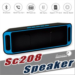 Wholesale Speakers For Tablets - SC208 Wireless Bluetooth Speakers wireless mini speaker portable music Bass Sound Subwoofer Speakers for Iphone Smart phone and Tablet PC