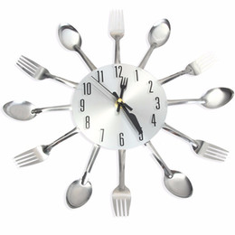 Wholesale Ships Wall Stickers - 2017 New Sliver Cutlery Kitchen Wall Clocks Home Decor Spoon Fork Wall Clock Watch Creative Mirror Wall Stickers Free Shipping