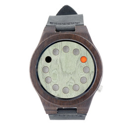 Wholesale Miyota Quartz - Wooden Mens Womens Watch With Leather Band Japanese Miyota 2035 Quartz Movement Round Watch New Arrival