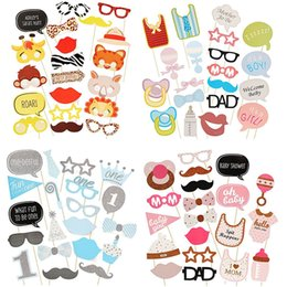 Wholesale Lovely Baby Boy Photos - Wholesale-20Pcs Baby Shower Photo Booth Props Lovely Adorable Gadgets Boys Girls Birthday Party DIY Masks Decor Events Party Supplies