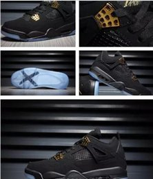 Wholesale Genuine Crystal Drop - Drop ship 2017 mens retro 4 Black Suede basketball Shoes retro 4 Banned Crystal transparent sole sports shoes size 41- 47